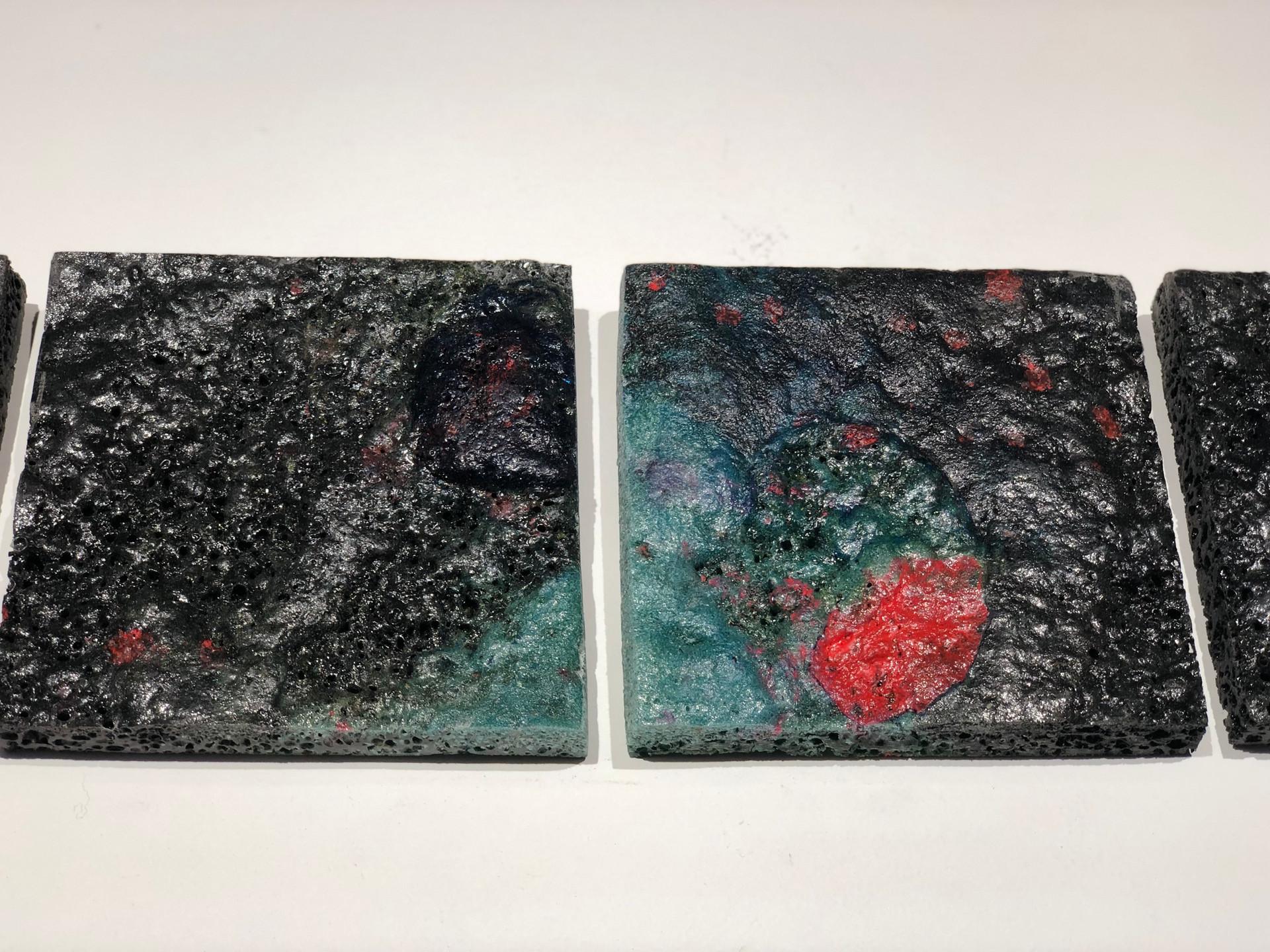 "Seven (Mold) 2019 Series of 4 6"" x 6"" each  Available $100  paraloid B-67, paraloid B-72, casting resin, mineral spirits, epoxy resin, xylene, fiberglass resin,plexiglass dust, polysufide rubber, acrylic medium, acrylic paint, acrylic gesso, baby powder,ink, dye, synthetic amorphous silicone dioxide, polyethylene, wood glue,latex, gesso dust, glass oxide"