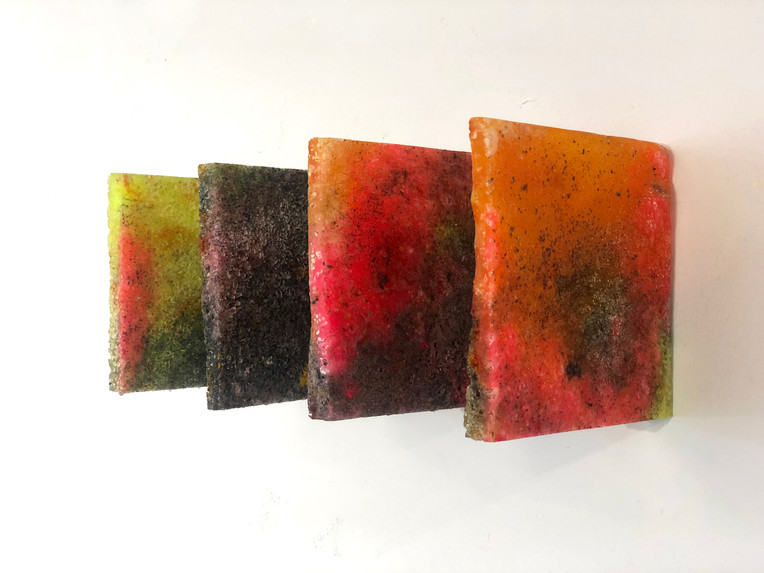"""Ten (Mold) 2019 Series of 4 6"""" x 6"""" each  Available $150   casting resin, epoxy resin, fiberglass resin,plexiglass dust, polysufide rubber, acrylic medium, acrylic paint, acrylic gesso, baby powder, ink, dye, synthetic amorphous silicone dioxide, gesso dust, glass oxide"""