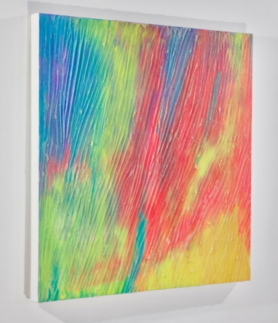 "2020  42"" x 42"" x 2.5"" canvas acrylic paint, silicone, glass oxide  Available $800"