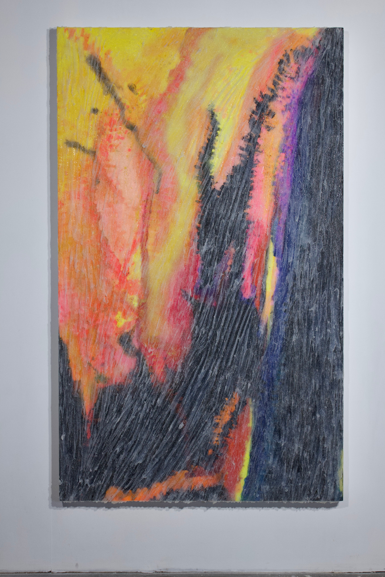 """2020  46"""" x 77"""" x 2.5"""" canvas acrylic paint, silicone, glass oxide  Available $900"""