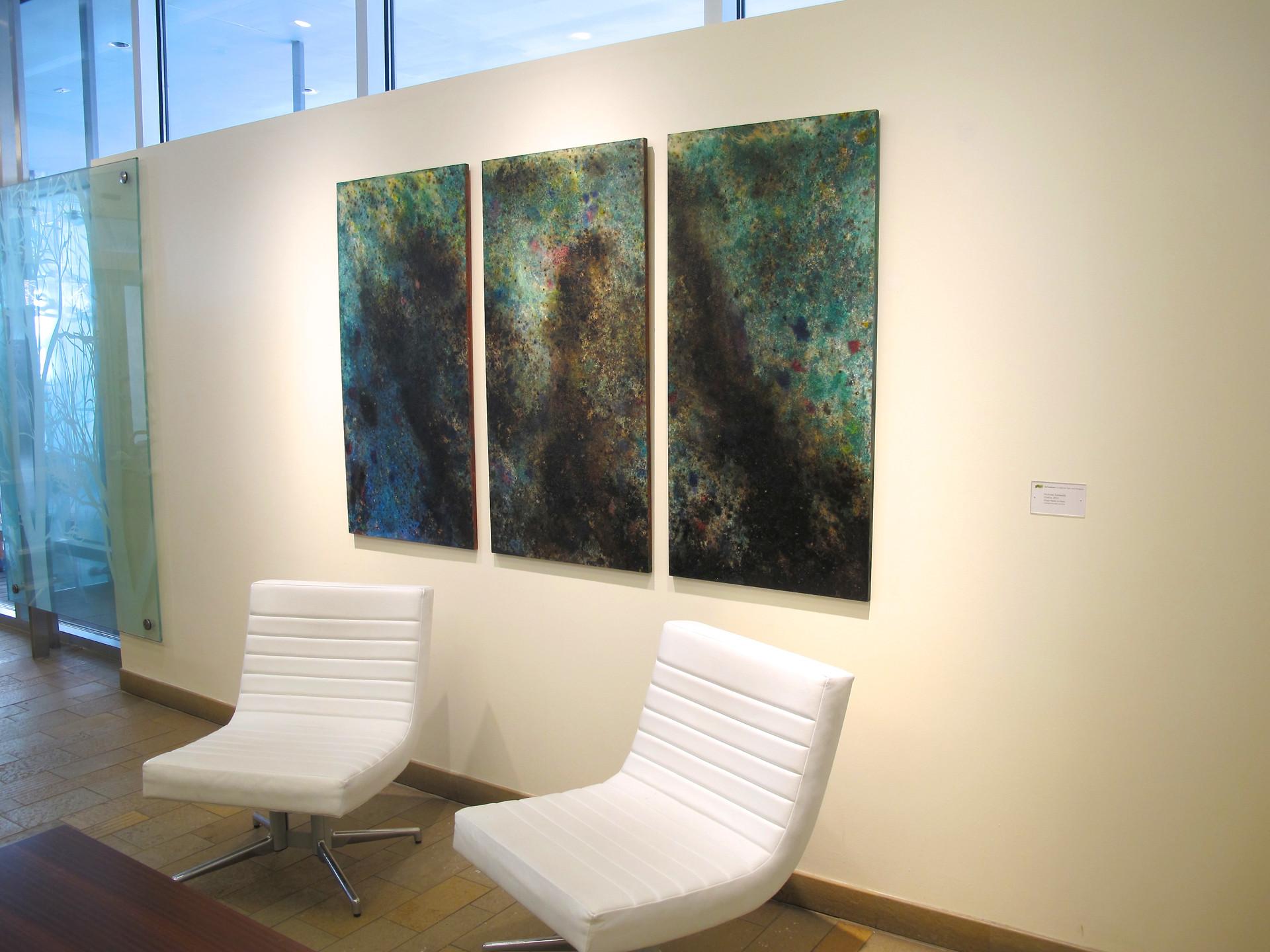 "2012 Wood Panel series of 3  48"" x 24"" x 1"" each  Cambridge, Massachusetts 2012  Unavailable"