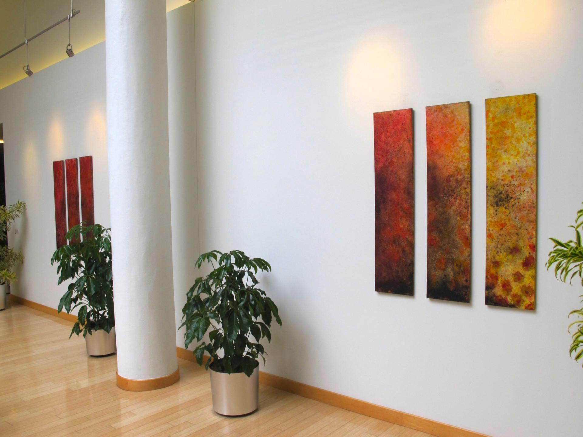 "2013 Wood Panel Series of 6 48"" x 12"" x 1"" each  Novartus Cambridge, Massachusetts 2013  Available $700"