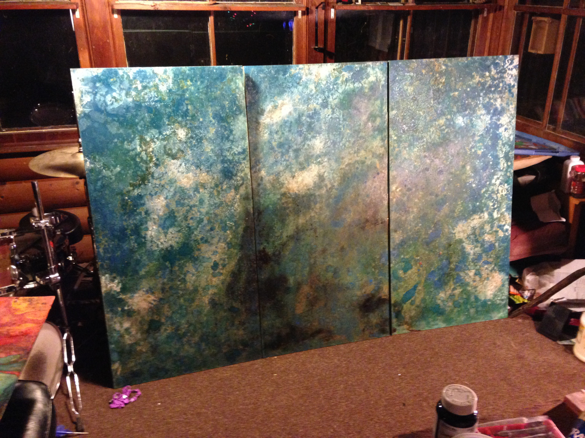 """2014 Wood Panel series of 3  48"""" x 24"""" x 1"""" each  Available $600"""