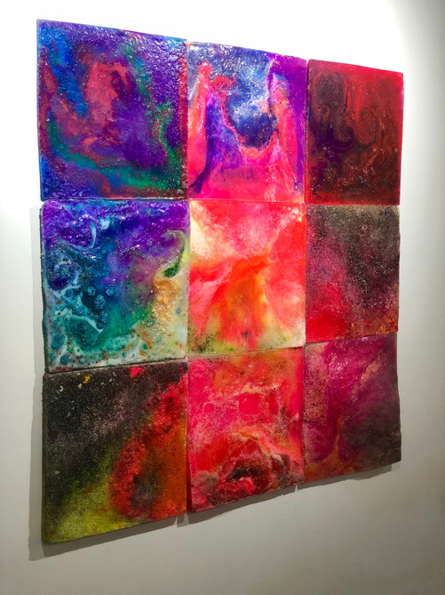 """Five (Mold) 2018 Series of 9 12"""" x 12"""" each  Unavailable  casting resin, epoxy resin, fiberglass resin,plexiglass dust, polysufide rubber, acrylic medium, acrylic paint, acrylic gesso, baby powder, wheat, ink, dye, synthetic amorphous silicone dioxide, gesso dust, glass oxide"""