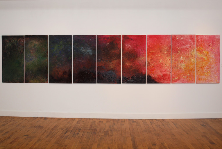 """2011 Wood Panel Series of 9  48"""" x 24"""" x 1"""" each  Sprinkler Factory Worcester, Massachusetts 2011  Unavailable"""