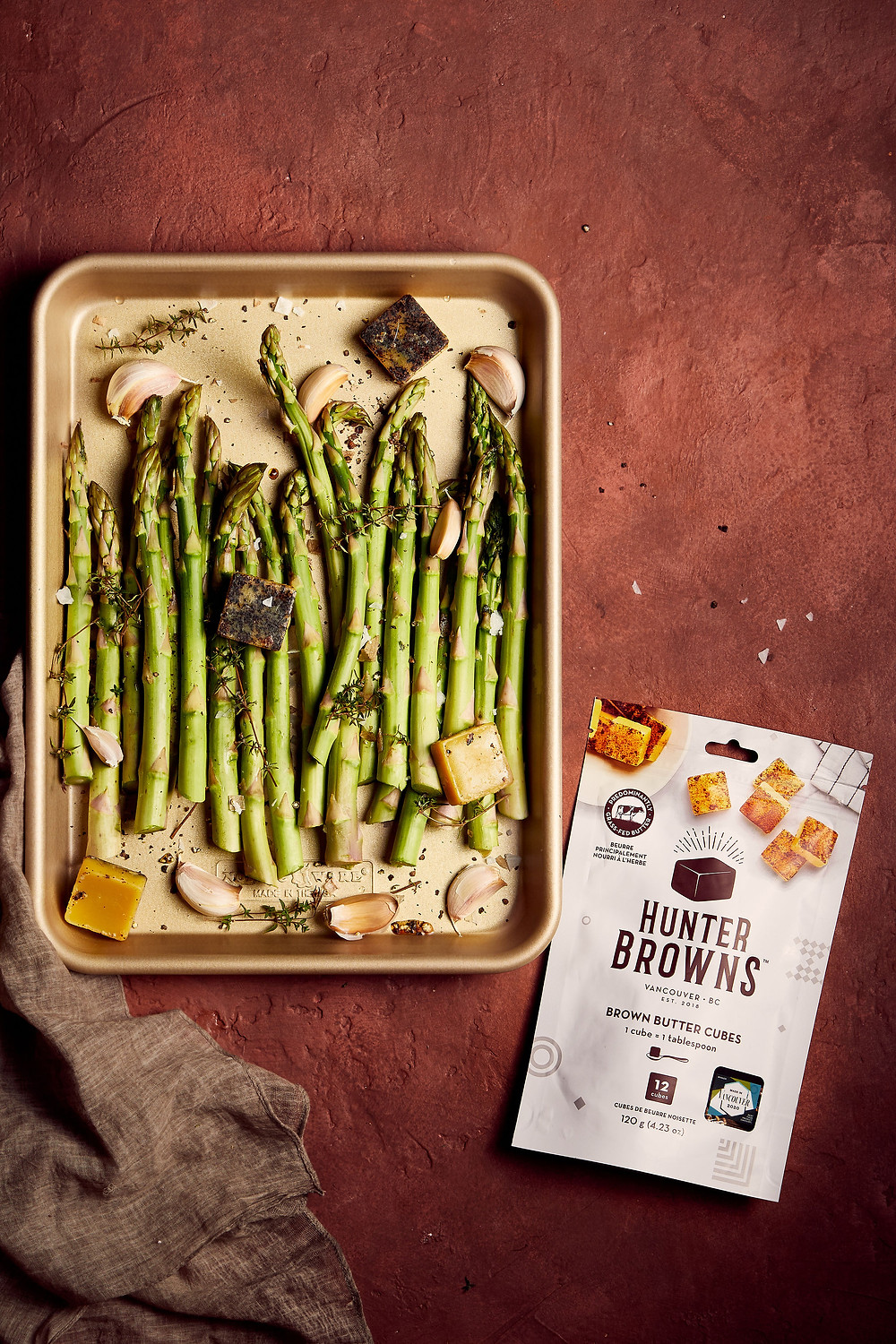 Roasted Asparagus with bag of Hunter Browns' Brown Butter Cubes