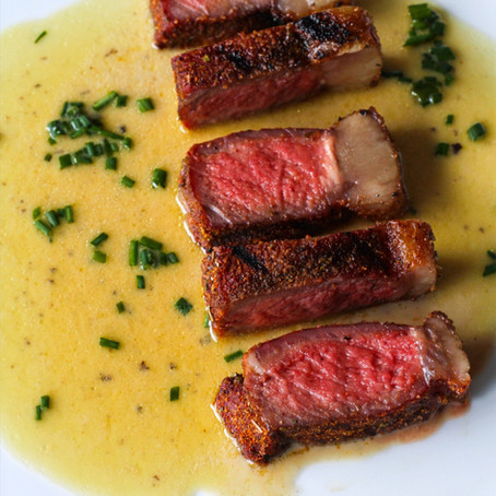 Striploin in a Brown Butter Miso Pan Sauce by Cory Walby