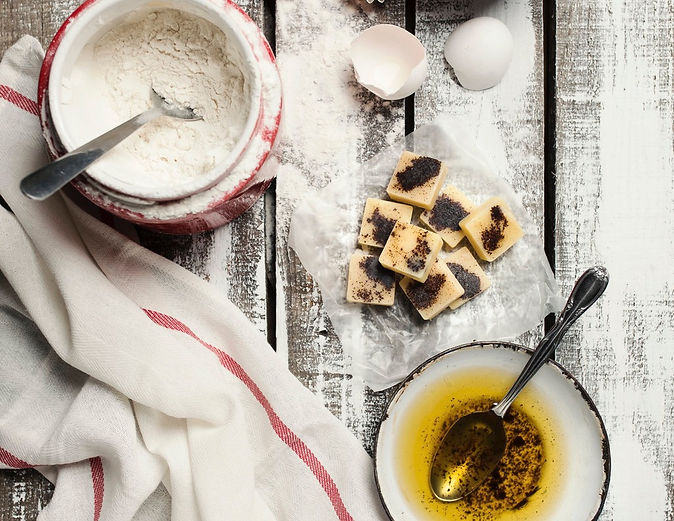 baking ingredients with brown butter cubes