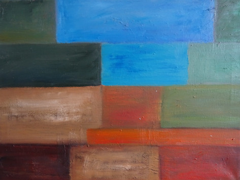 hedendaagse kunst, inspiratie Sean Scully 30x40 olieverf