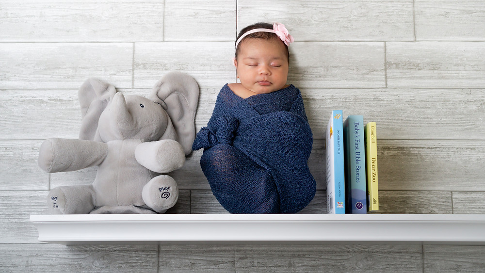Newborn baby on a shelf by Brooks & Davis Photography