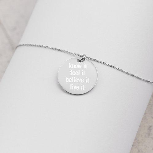 Engraved Silver Disc Necklace - Manifestation