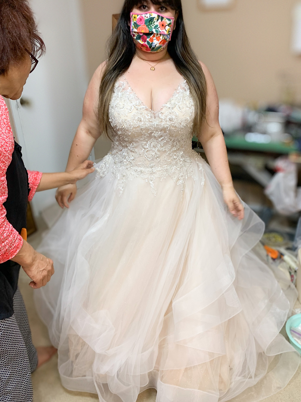 80 Pound weight loss wedding dress bride