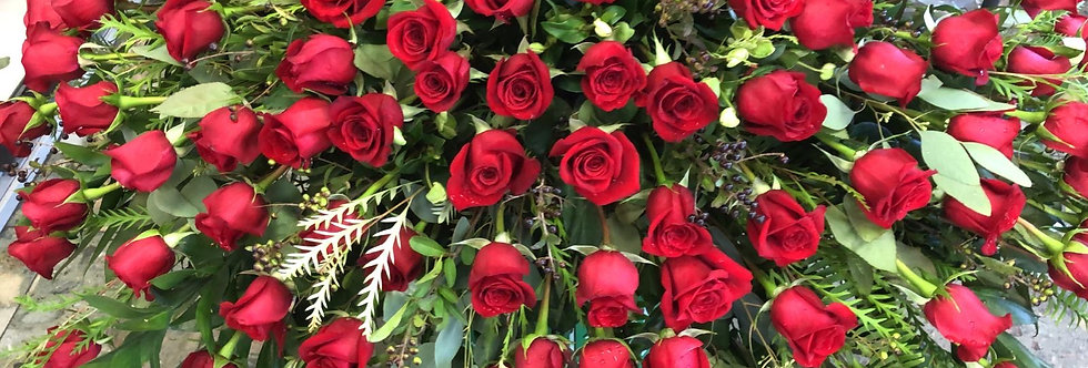 Casket Spray - All Red Roses