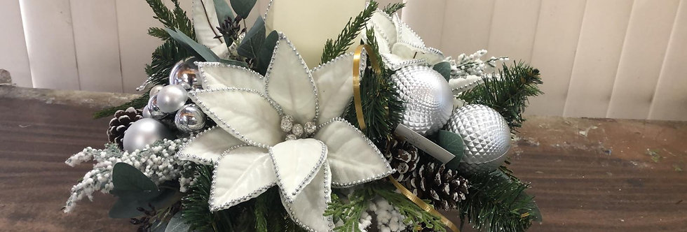 White and Silver Silk Centerpiece with Candles with Batteries