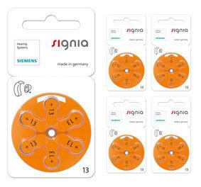 Комплект 5 блистеров батареек для слухового аппарата № 13 (PR 48) Signia Siemens