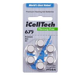 Батарейки для слуховых аппаратов № 675 (PR 44) iCellTech