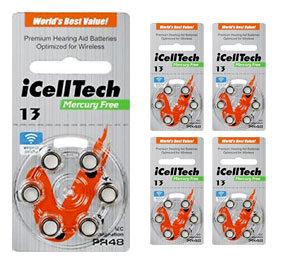 Комплект 5 блистеров батареек для слухового аппарата № 13 (PR 48) iCellTech