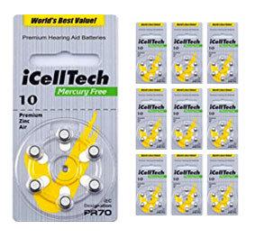 Упаковка 10 блистеров батареек для слуховых аппаратов № 10 (PR 70) iCellTech