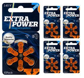 Комплект 5 блистеров батареек для слухового аппарата № 13 (PR 48) ExtraPower