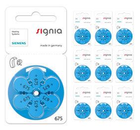 Упаковка 10 блистеров батареек для слуховых аппаратов № 675  (PR 44) Signia Siemens
