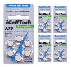 Комплект 5 блистеров батареек для слухового аппарата № 675 (PR 44) iCellTech