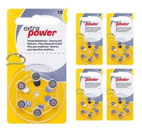 Комплект 5 блистеров батареек для слухового аппарата № 10 (PR 70) ExtraPower