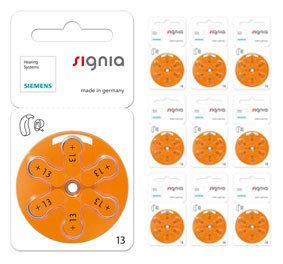 Упаковка 10 блистеров батареек для слуховых аппаратов № 13  (PR 48) Signia Siemens