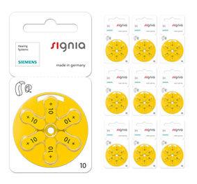 Упаковка 10 блистеров батареек для слуховых аппаратов № 10  (PR 70) Signia Siemens