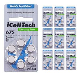 Упаковка 10 блистеров батареек для слуховых аппаратов № 675 (PR 44)  iCellTech