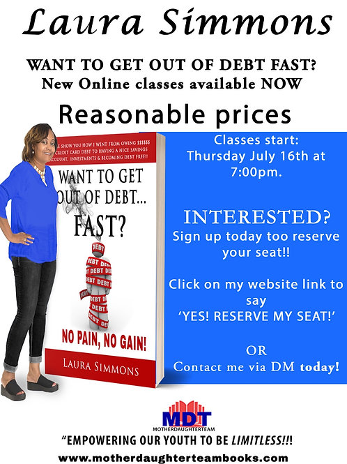 Getting out of Debt  online  class 45 mins Sessions