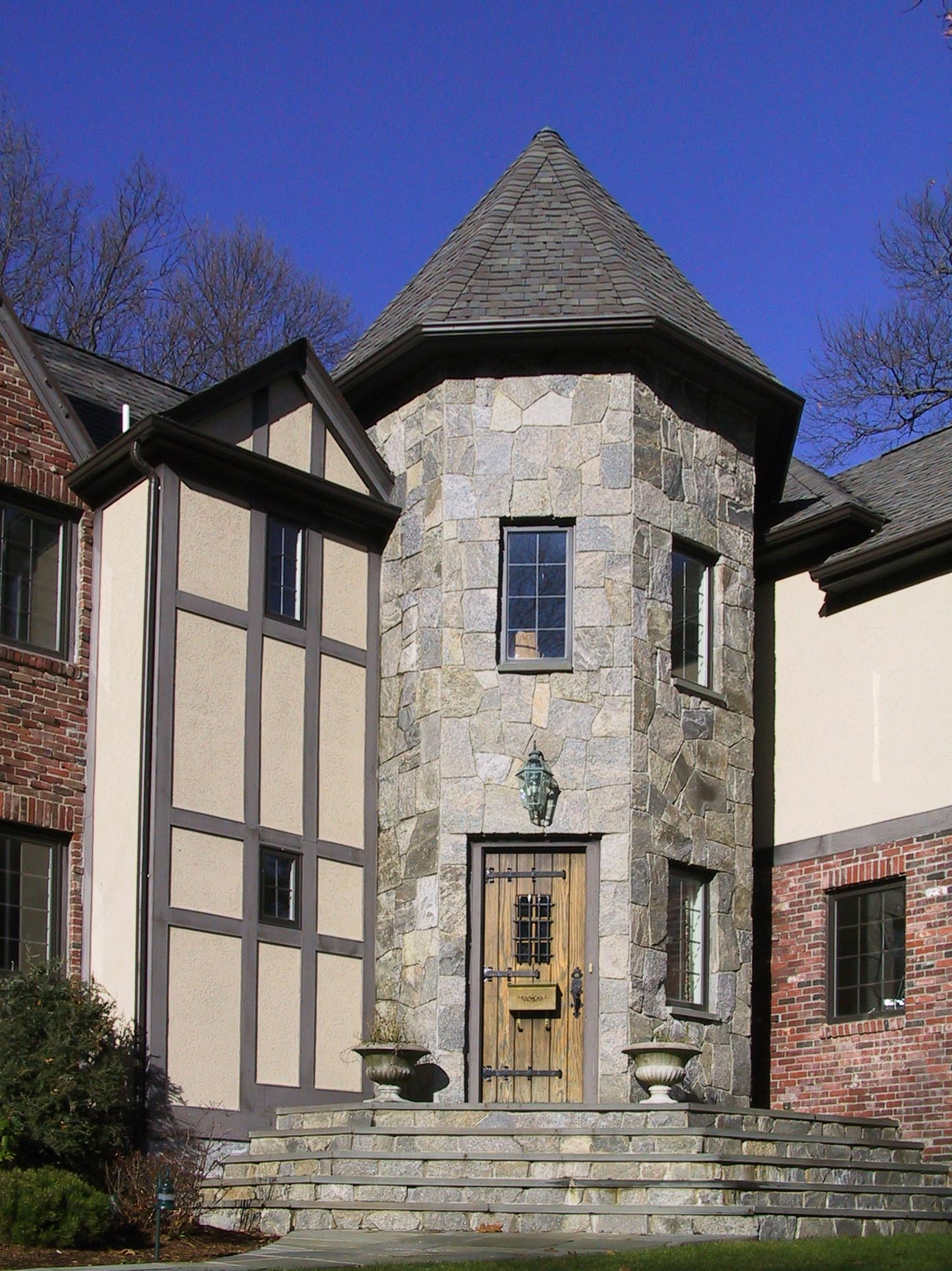 English Tudor front entry Turret