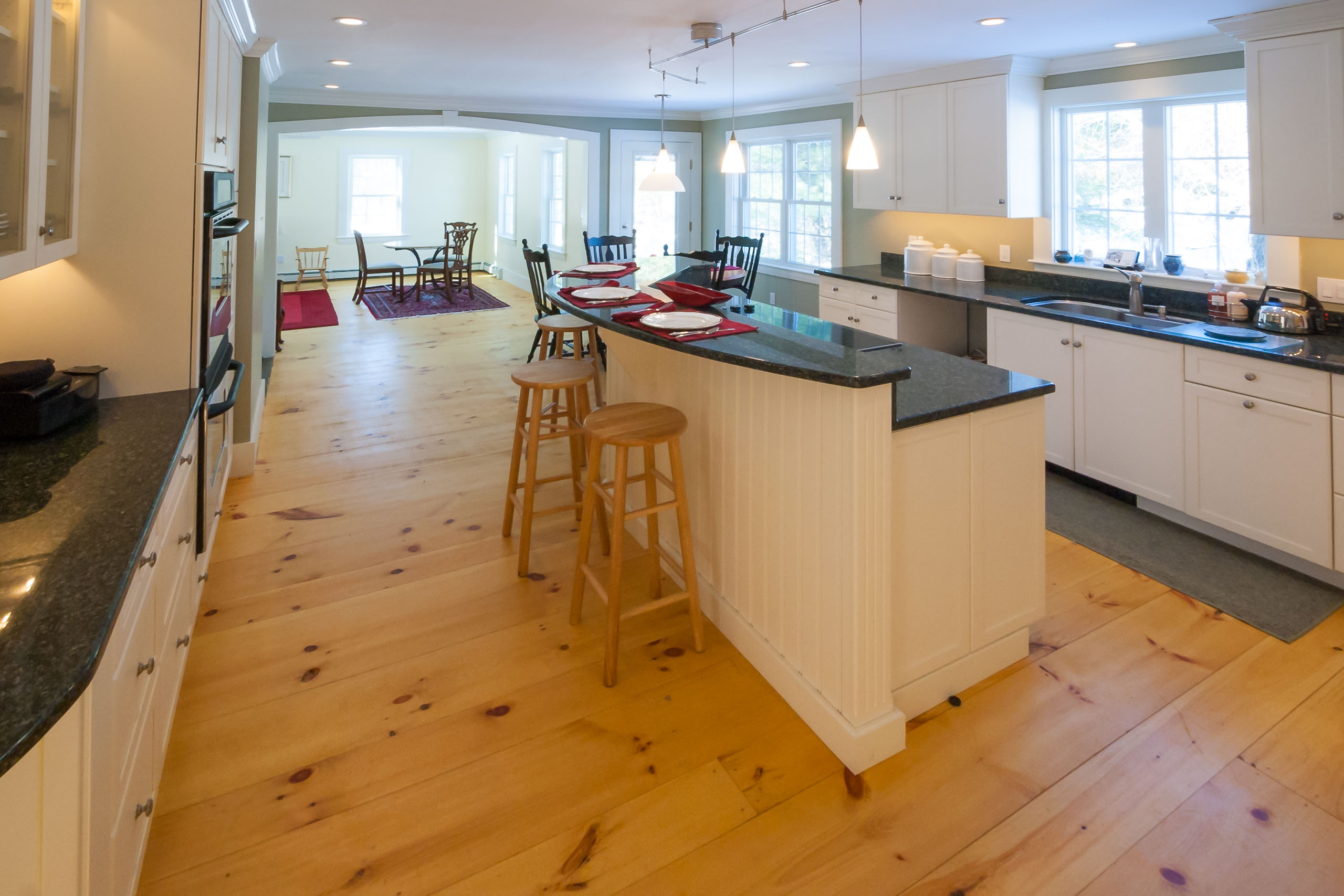 Farmhouse kitchen wide plank floors