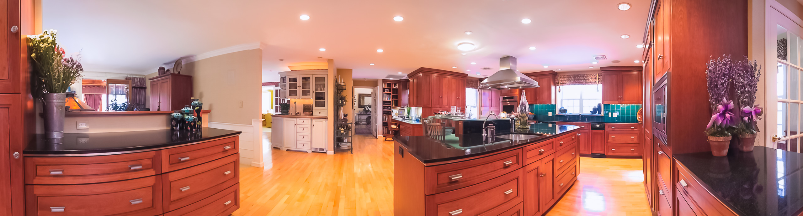 Panorama of kitchen/ dining/ office