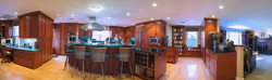 Panorama of kitchen/ library/ office
