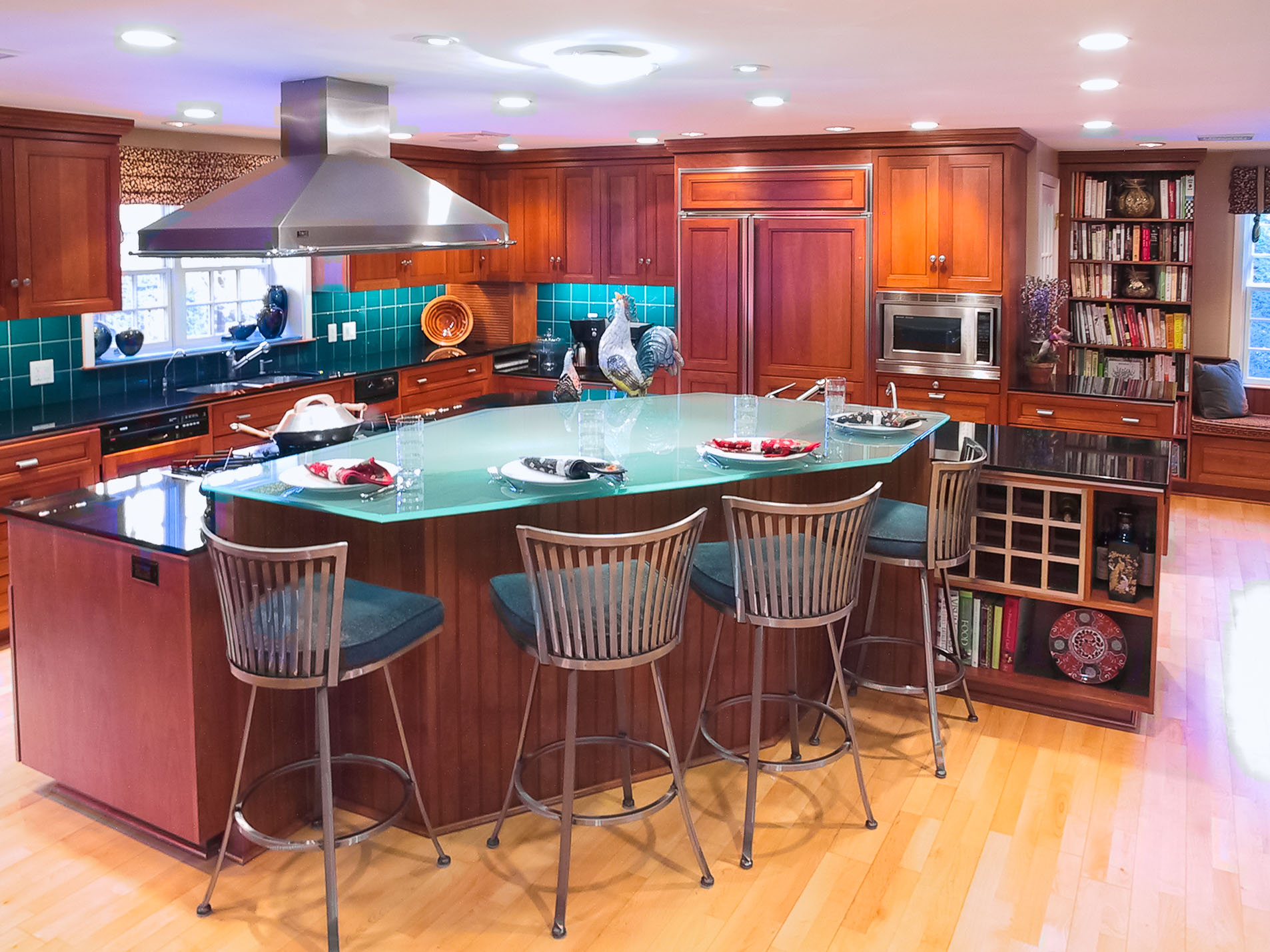 Kitchen Island with glass countertop