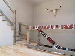 Minimalist wood plank Railings