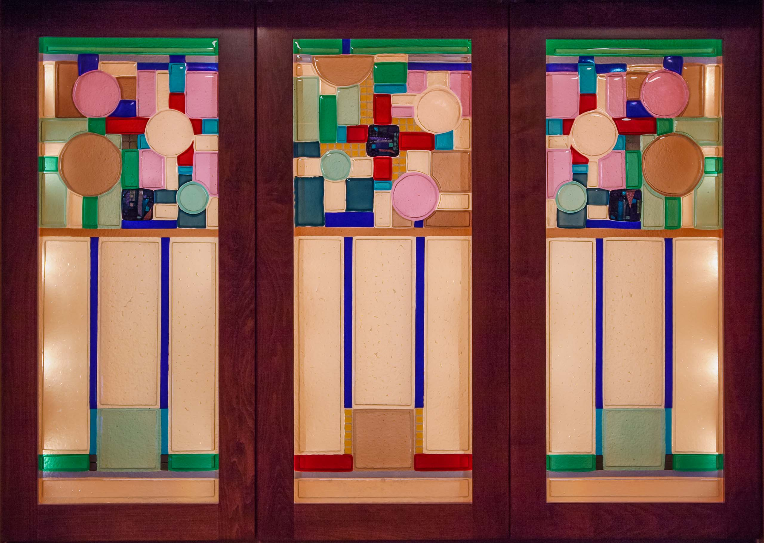 Custom fused glass cabinets