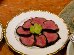 Grilled and sliced filet mignon