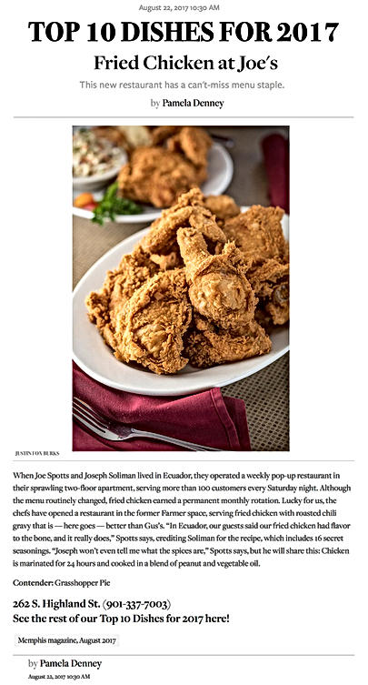 Memphis Magazin, Top 10 Dishes