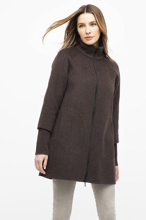 Rib Sleeve Zip Mock Neck Coat