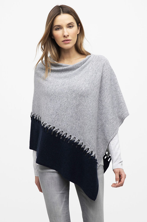 Twist Stitch Color Block Poncho