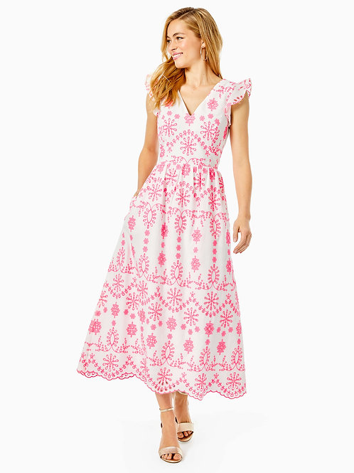Lillyanne Eyelet Midi Dress