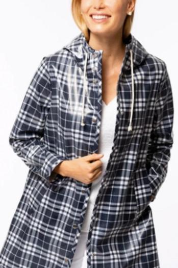 Midnight Plaid Hooded Rain Jacket