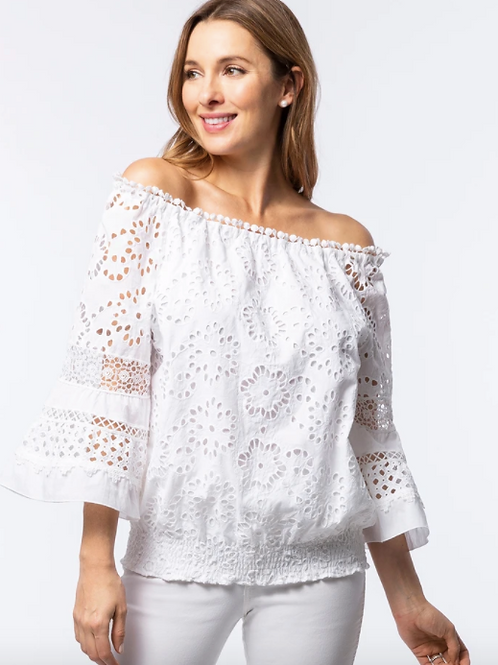 Claire Off-The-Shoulder Eyelet Top