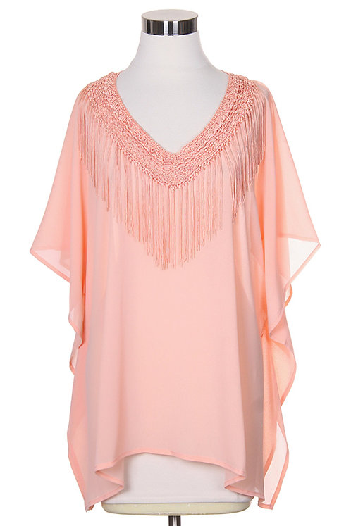 Lightweight poncho with fring and sleeves