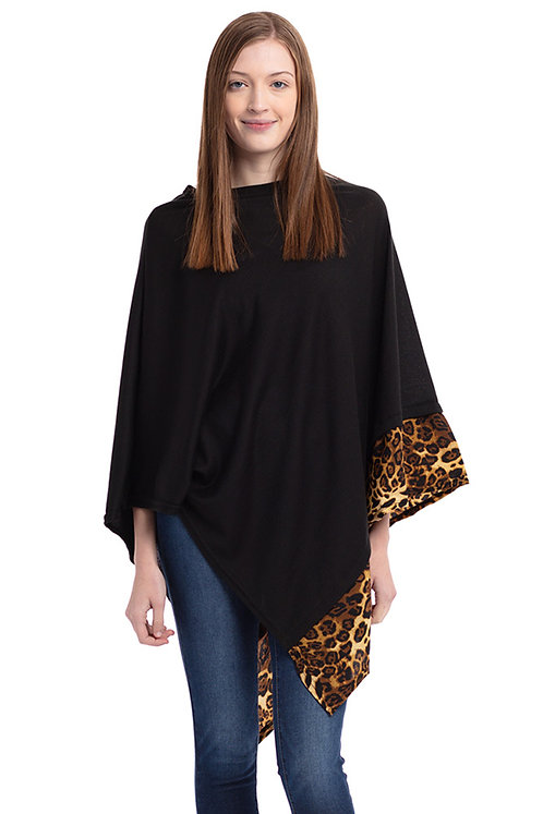 Black Poncho with Animal Border