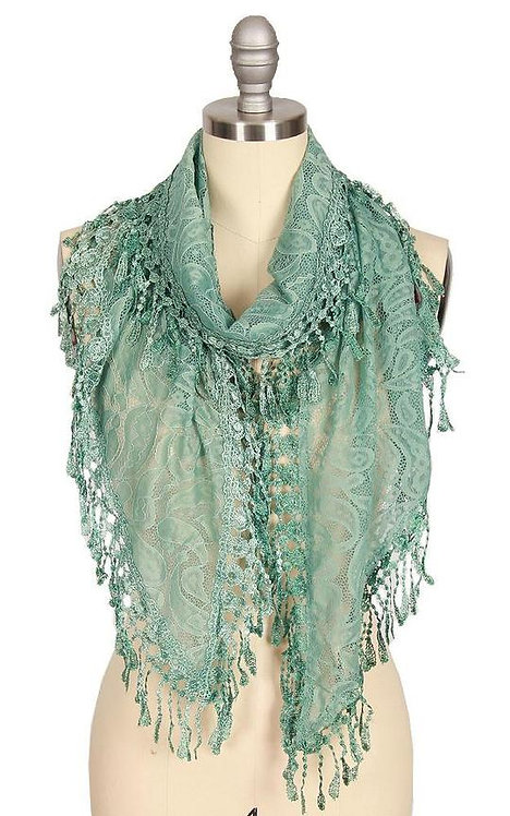 Lace Triangle Scarf with Tassels