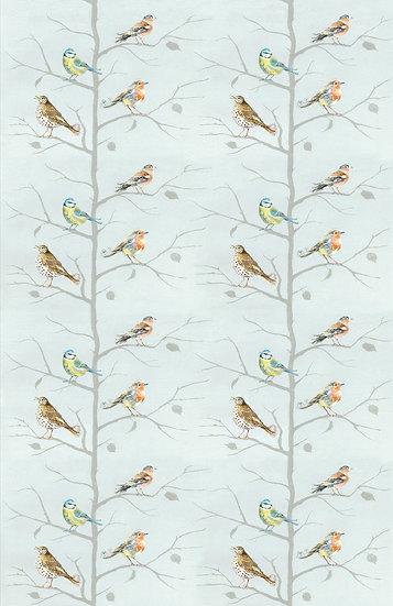 Birds on Blue Tea Towel