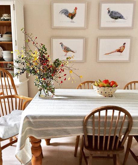 Game birds in kitchen