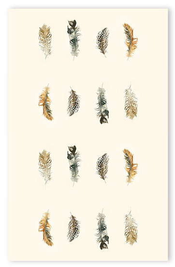Feathers on Cream Tea Towel